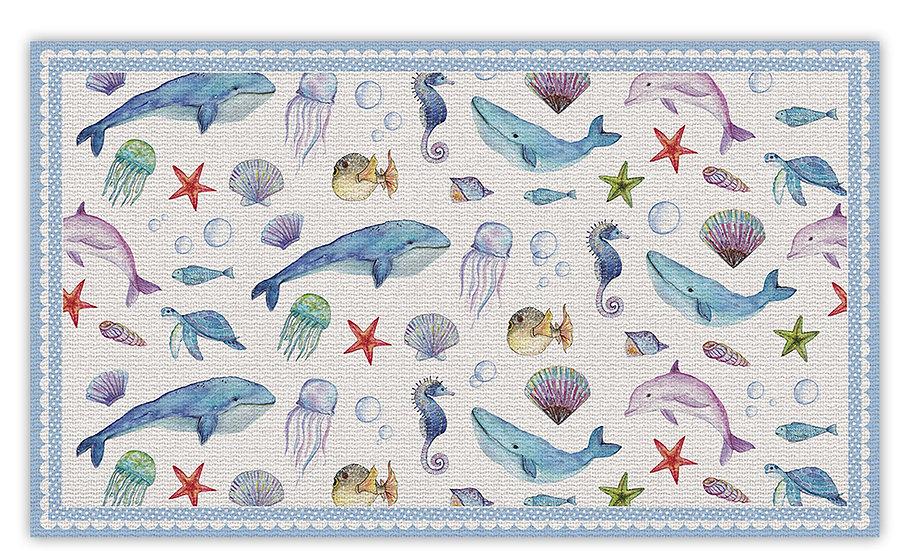 שטיח פעילות מתחת למים כחול לילדים - במגוון מידות