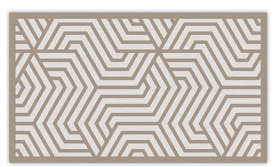 Manhattan - Vinyl Floor Mat - Beige graphic pattern