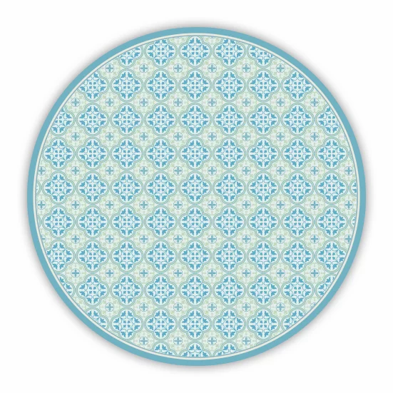 Round Andrea - Vinyl Floor Mat - Aqua Spanish tiles pattern