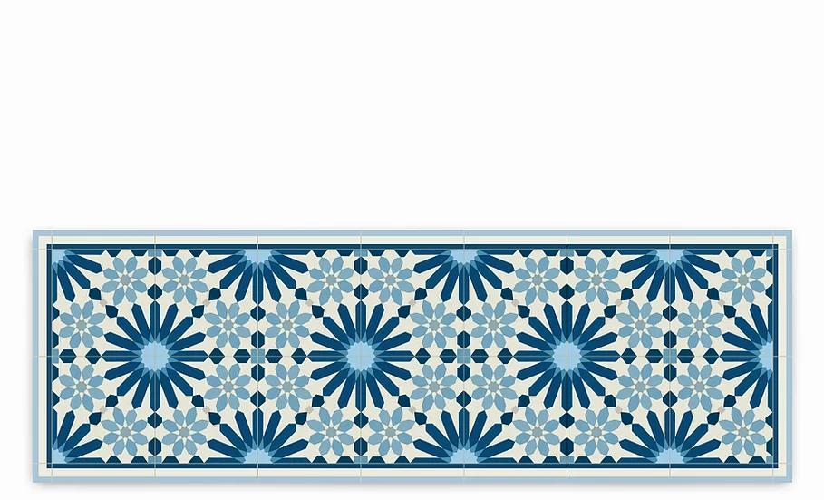 Marrakesh - Vinyl Table Runner - Dark blue Moroccan tiles pattern