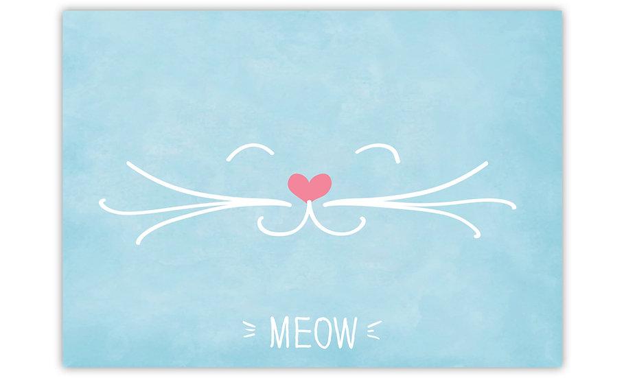 Meow - Vinyl Pet Placemat - Light blue animals theme