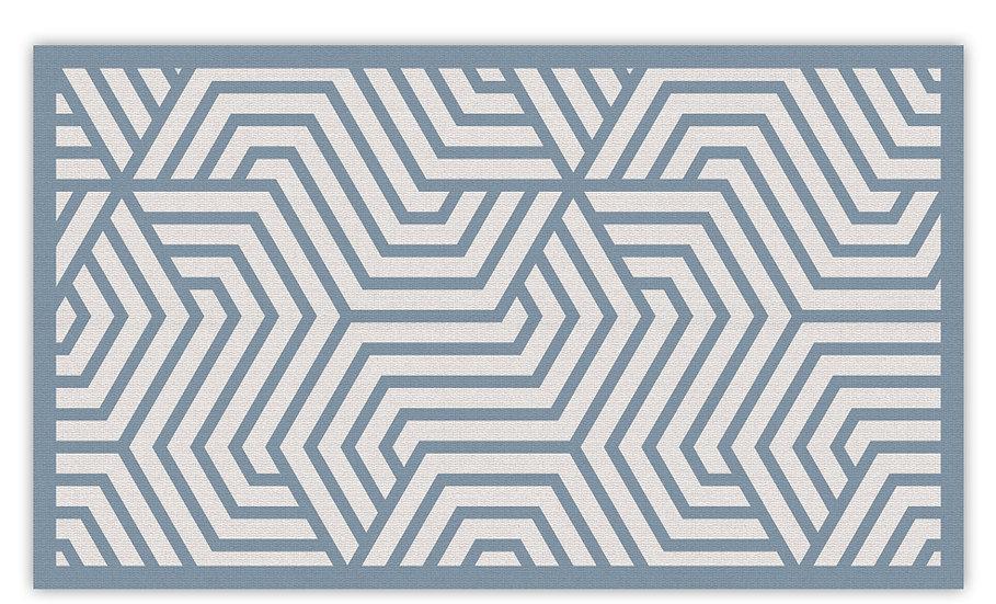 Manhattan - Vinyl Floor Mat - Blue graphic pattern