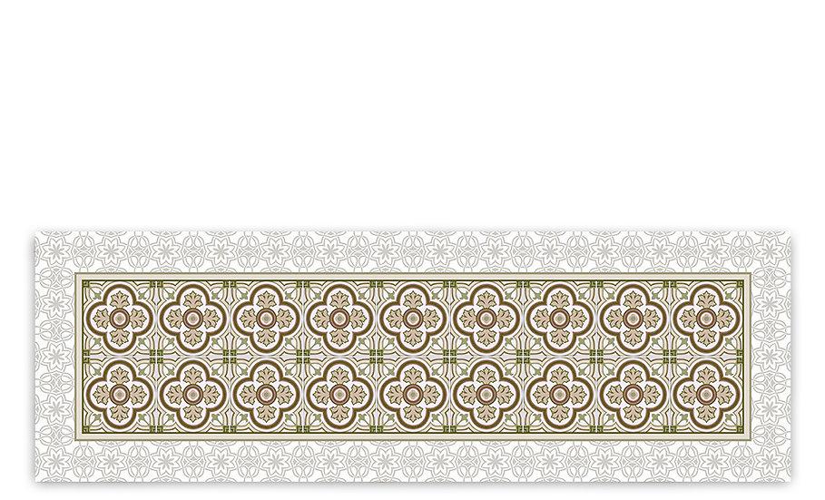 Henry - Vinyl Table Runner - Sepia classic tiles pattern