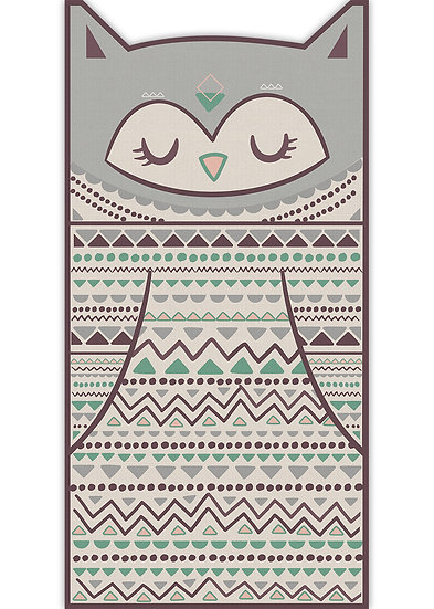 שטיח ארוך בצורת ינשוף בגווני אפור וחום- במגוון מידות
