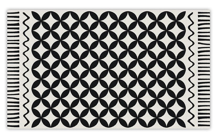 Venus - Vinyl Floor Mat - Black and white graphic pattern