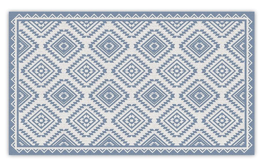 Casablanca - Vinyl Floor Mat - Blue classic ethnic pattern