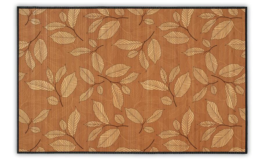 Louisa - Bamboo Mat - Brown botanical pattern