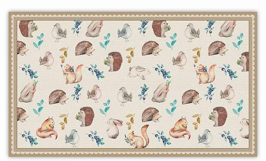 Squirrels - Vinyl Floor Mat - Brown animals theme pattern