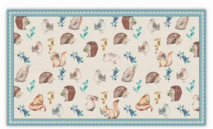 Squirrels - Vinyl Floor Mat - Light blue animals theme pattern