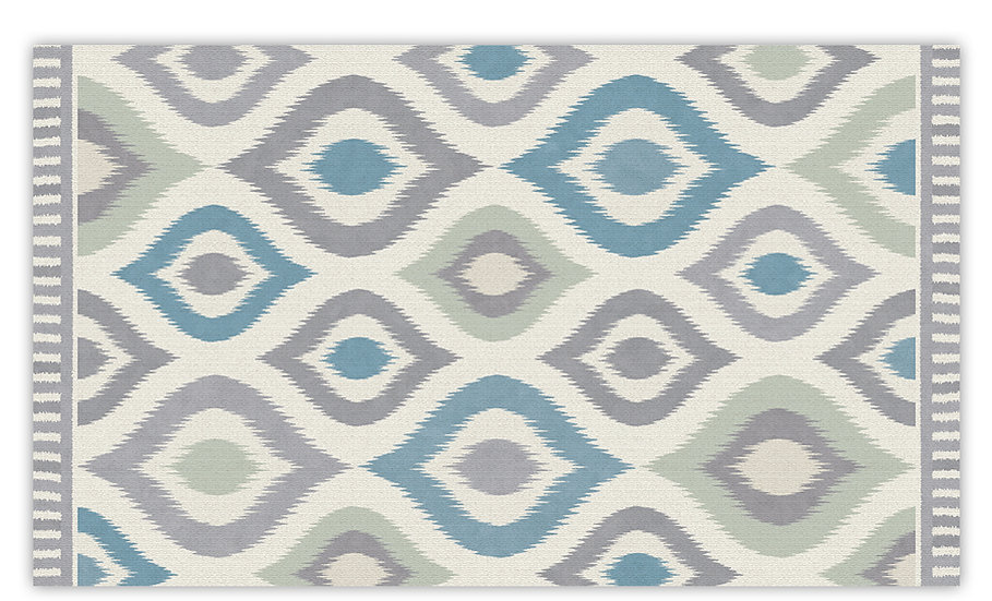 Alma - Vinyl Floor Mat - Turquoise graphic pattern