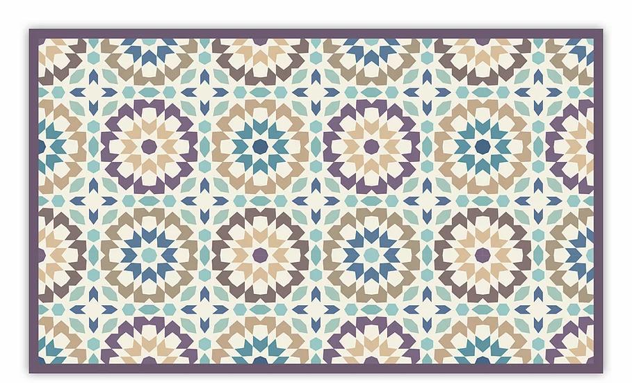 Morocco - Vinyl Floor Mat - Purple Moroccan tiles pattern