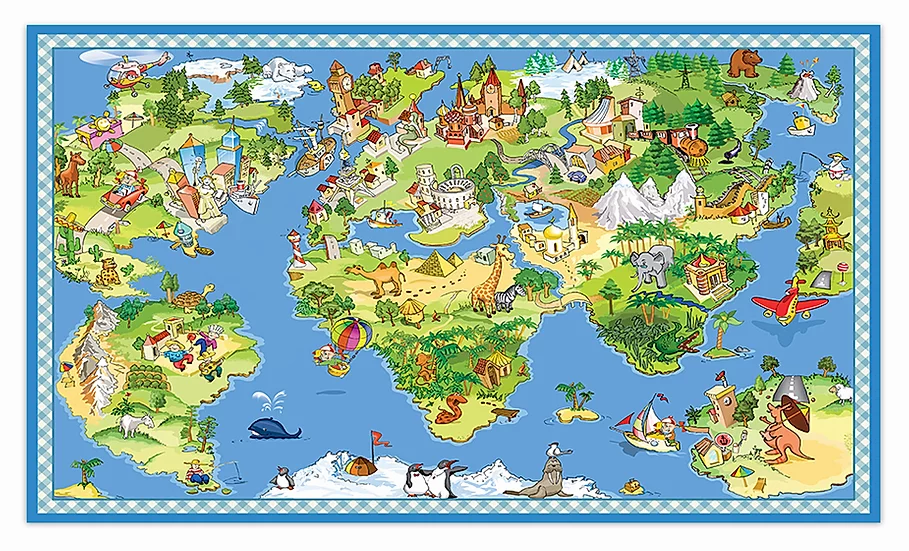 The Globe  - Vinyl Floor Mat - Colorful playful theme