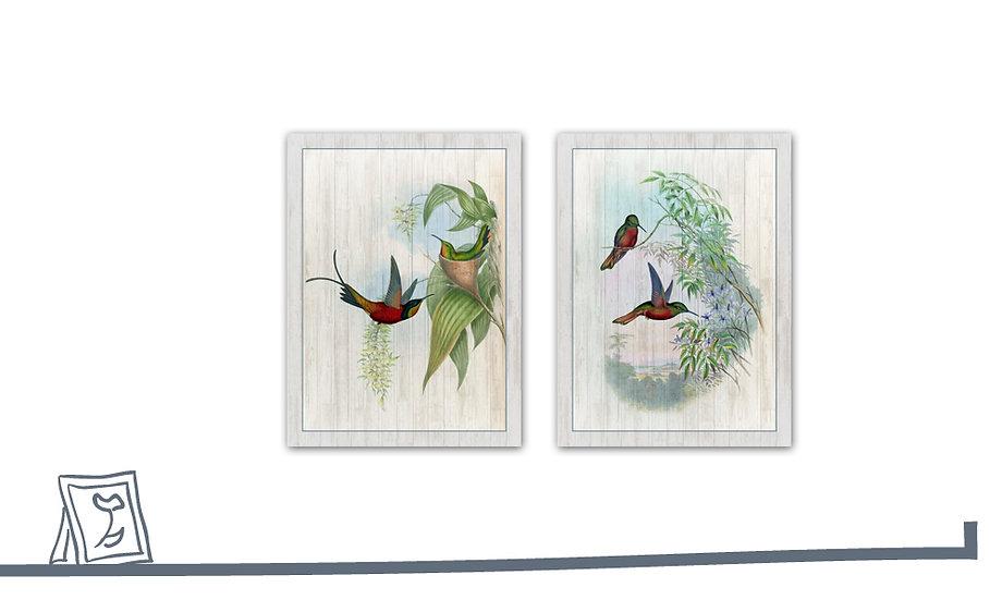 תמונת עץ זוג איורי ציפורים2 במגוון מידות