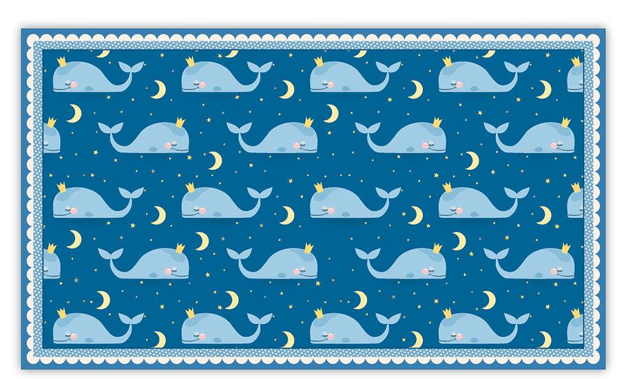 שטיח פעילות לויתנים כחול עם מסגרת לילדים - במגוון מידות