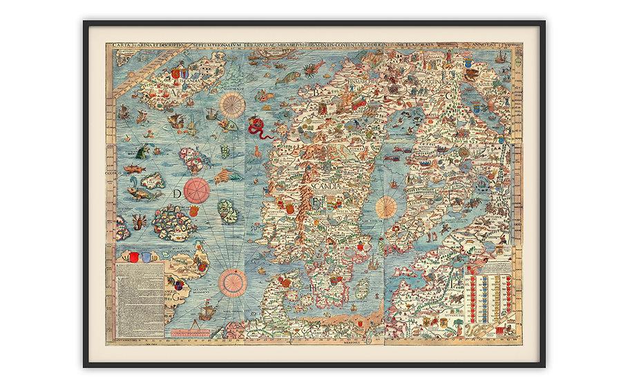 מפה עתיקה ממוסגרת במגוון מידות - מפה סקנדינבית 1539