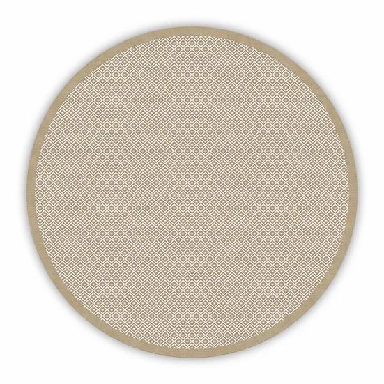 Round Margo - Vinyl Floor Mat - Beige graphic pattern