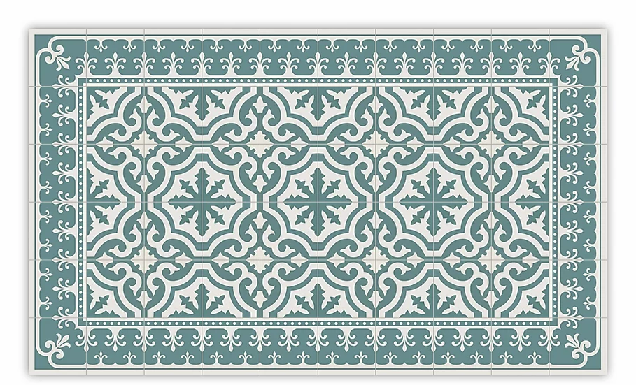 Tuscany - Vinyl Floor Mat - Green classic tiles pattern