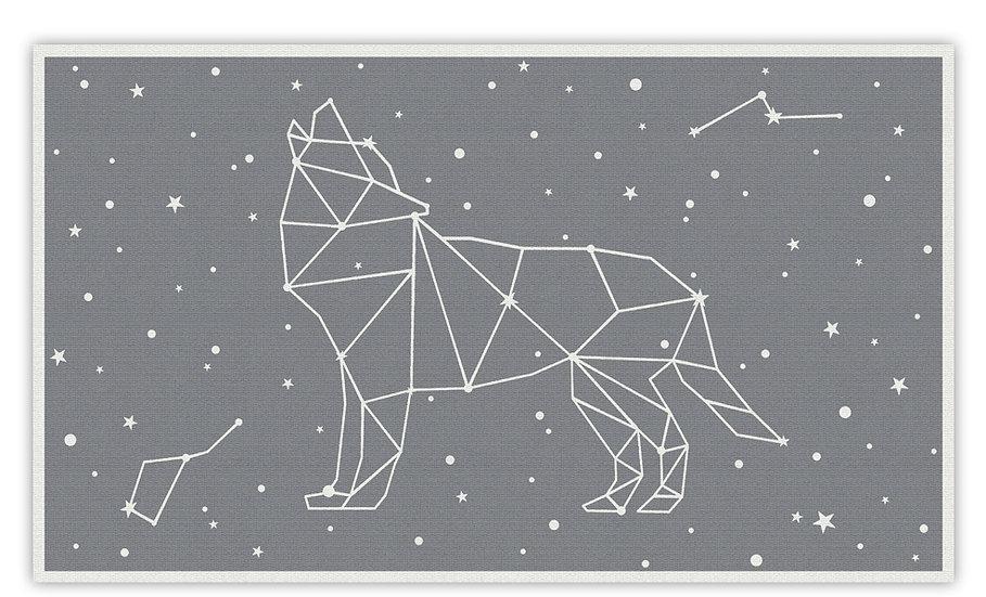 Wolf - Vinyl Floor Mat - Gray cosmic theme