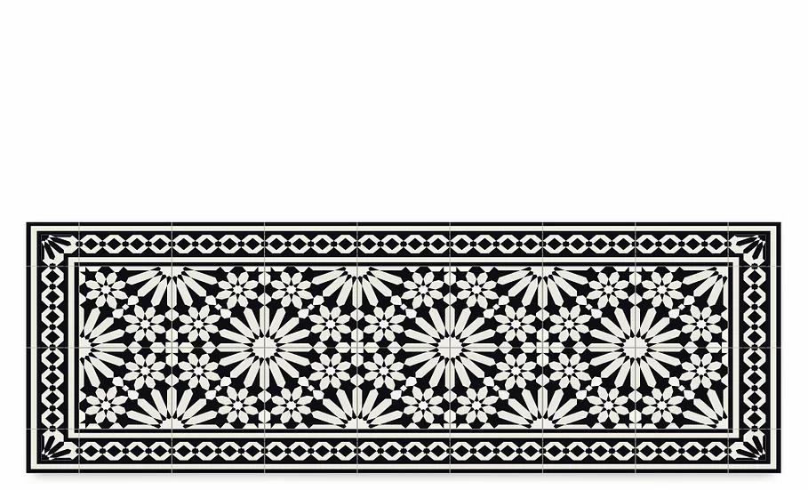 Tangier - Vinyl Table Runner - Black Moroccan tiles pattern