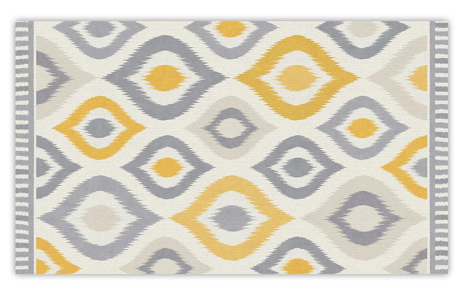 Alma - Vinyl Floor Mat - Yellow graphic pattern