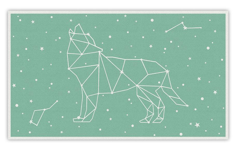 שטיח פעילות זאב כוכבים מנטה לילדים - במגוון מידות