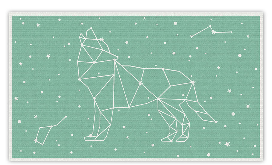 Wolf - Vinyl Floor Mat - Mint cosmic theme