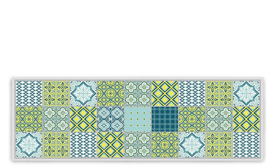 Mix - Vinyl Table Runner - Blue mixed tiles pattern