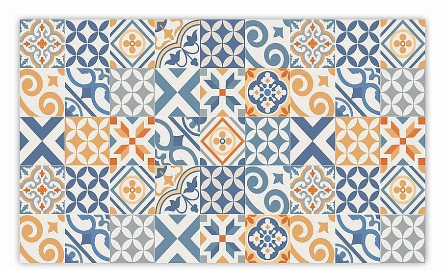 Portugal - Vinyl Floor Mat - Blue and orange mix tiles pattern