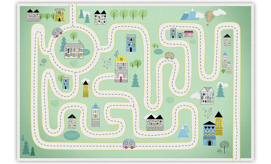 שטיח פיויסי כביש ירוק לילדים - במגוון מידות