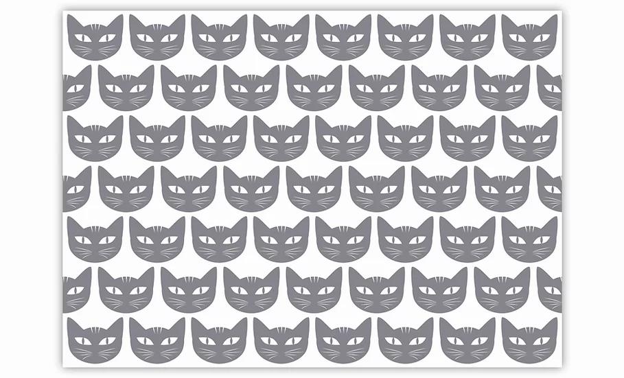 Cats  - Vinyl Pet Placemat - Gray animals theme pattern