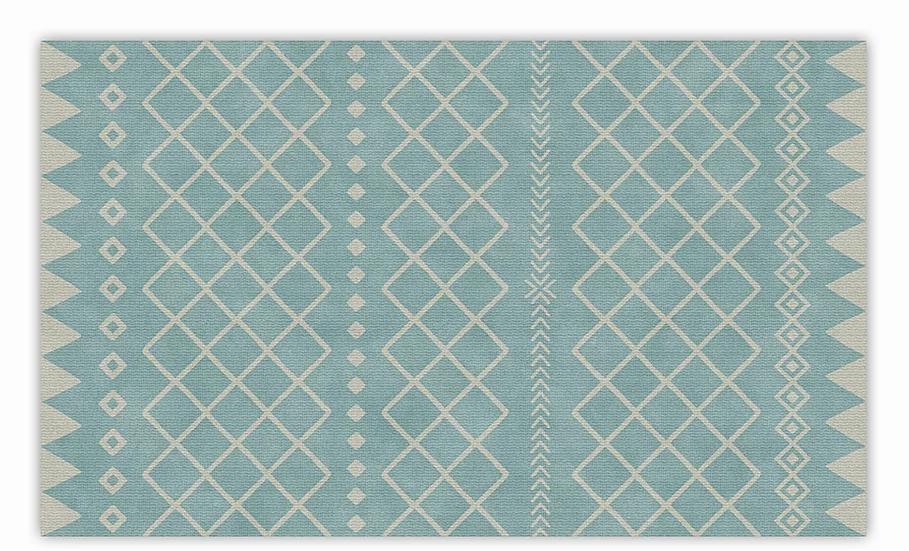Willow - Vinyl Floor Mat - Turquoise graphic pattern