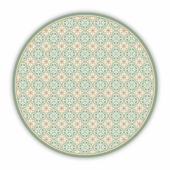 Round Andrea - Vinyl Floor Mat - Green Spanish tiles pattern