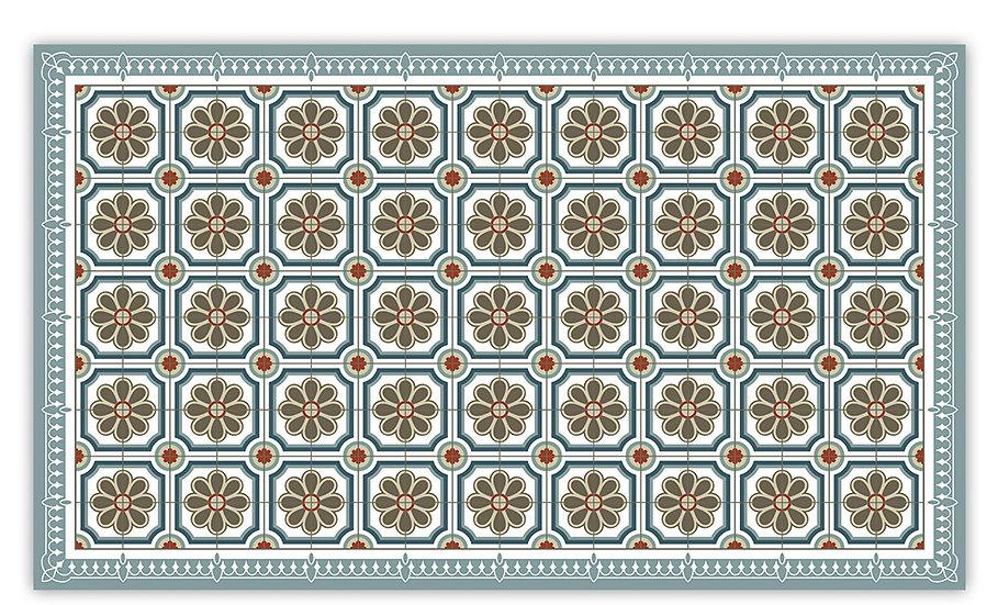 Emilia - Vinyl Floor Mat - Gray Spanish tiles pattern