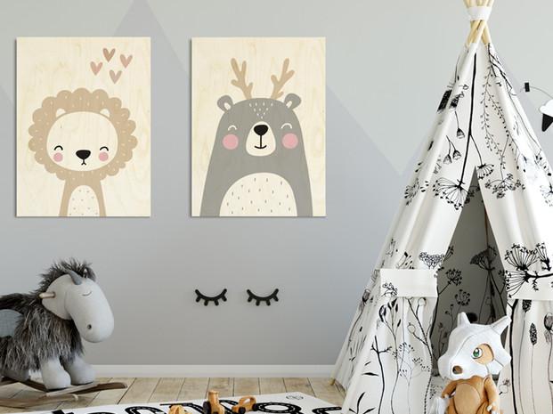 תמונות לילדים מודפסות על עץ