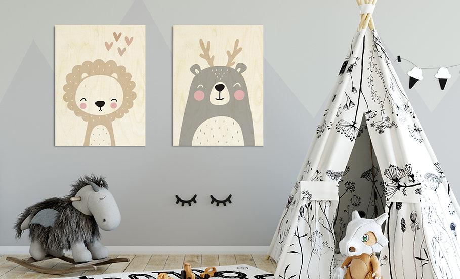 זוג תמונות עץ דגם אריה לבבות ודוב קרניים - במגוון מידות