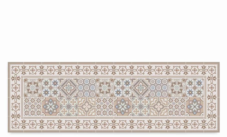 Retro - Vinyl Table Runner - Beige mixed tiles pattern