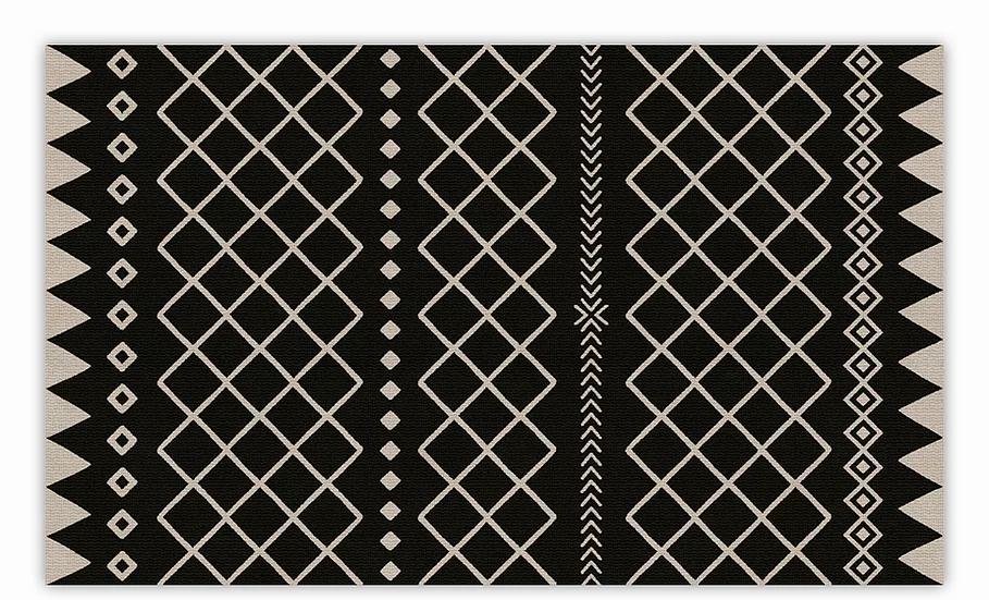Willow - Vinyl Floor Mat - Black graphic pattern