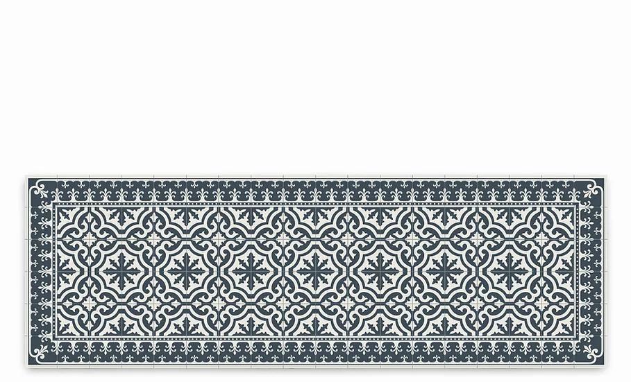 Tuscany - Vinyl Table Runner - Dark gray classic tiles pattern