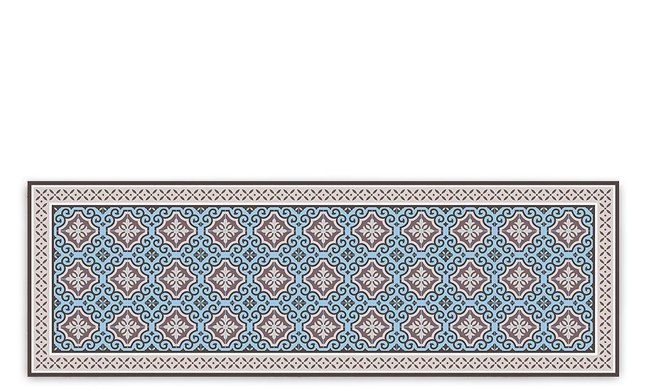 Clasico - Vinyl Table Runner - Blue Spanish tiles pattern