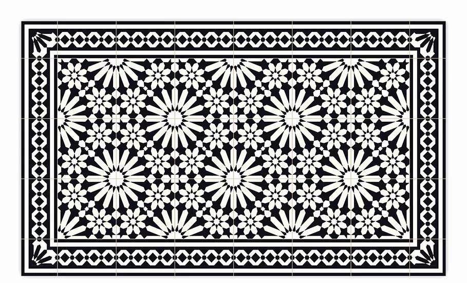 Tangier - Vinyl Floor Mat - Black Moroccantiles pattern