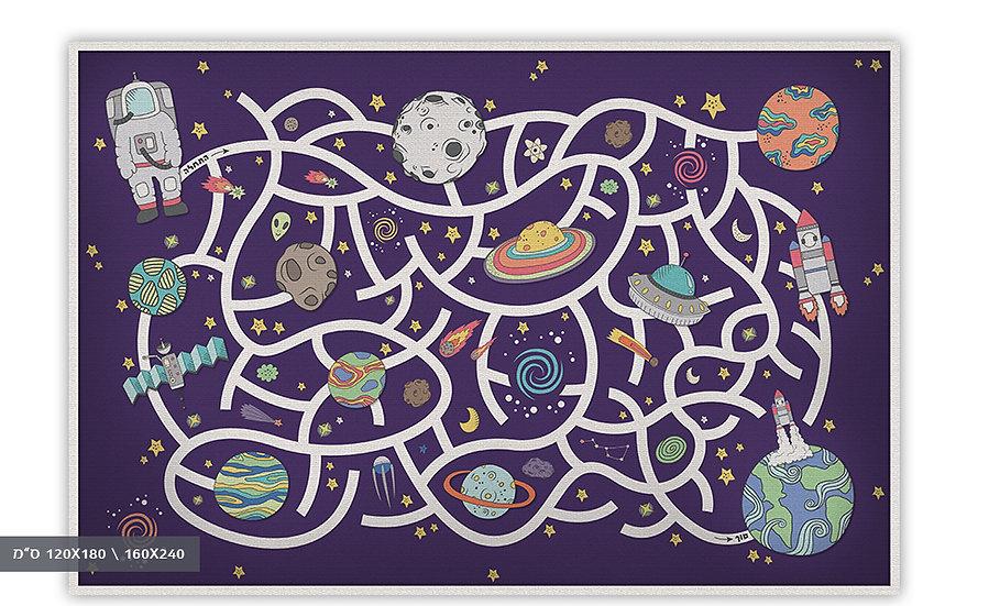 שטיח פיויסי מבוך בחלל סגול לילדים - במגוון מידות