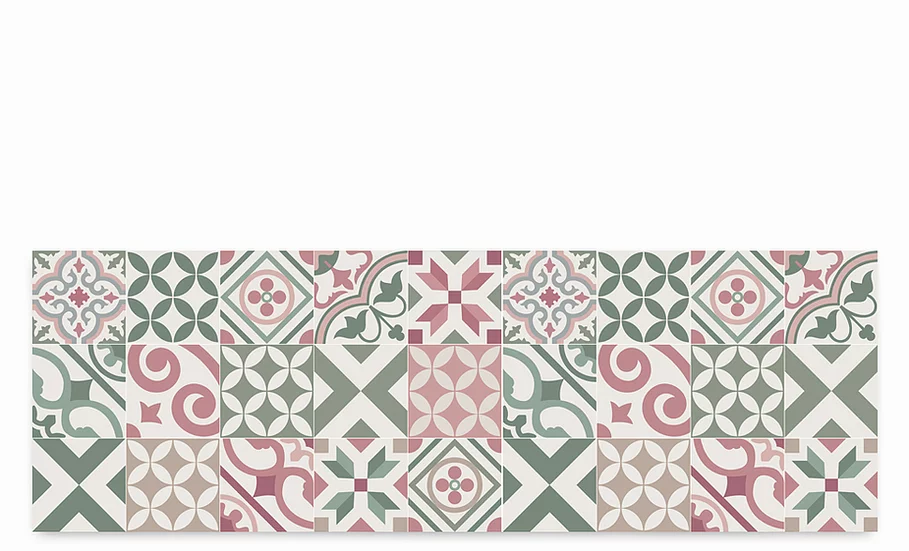Portugal - Vinyl Table Runner - Green and pink mix tiles pattern
