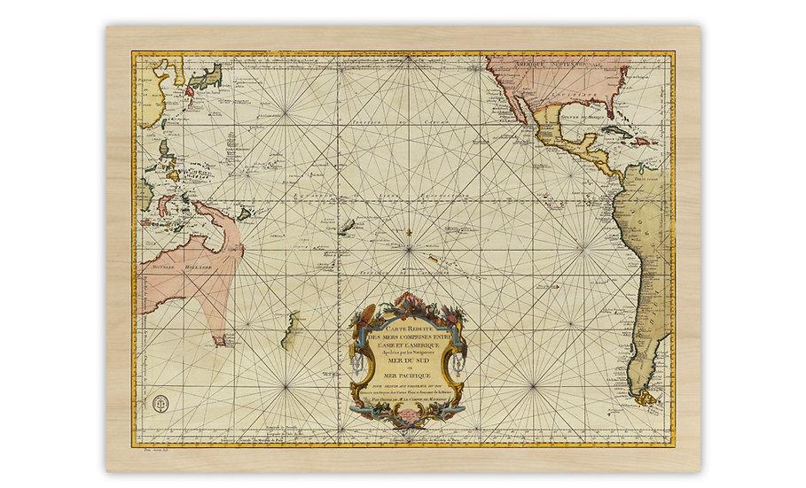 מפה ימית עתיקה מ-1776 מודפסת על לוח עץ