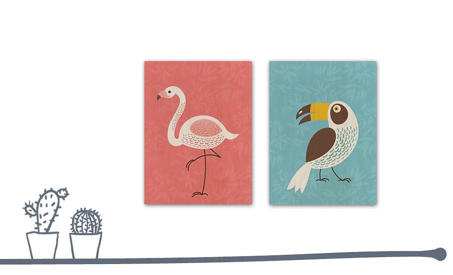 תמונת עץ זוג פלמינגו וטוקן במגוון מידות