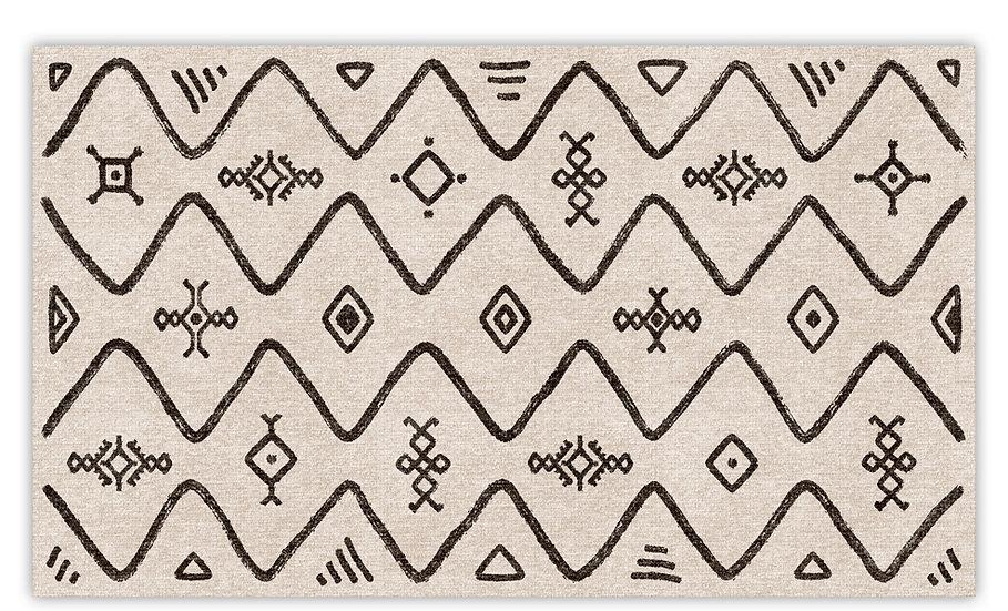 Layla - Vinyl Floor Mat - Black ethnic pattern