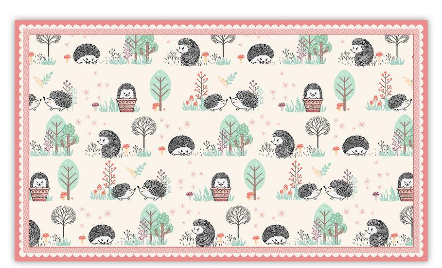Hedgehogs - Vinyl Floor Mat - Pink animals theme pattern