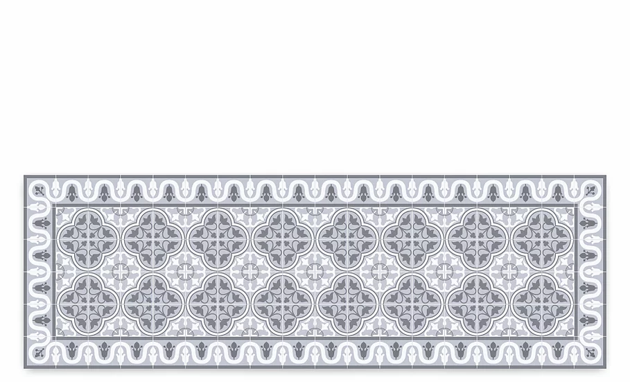 Andrea - Vinyl Table Runner - Gray Spanish tiles pattern