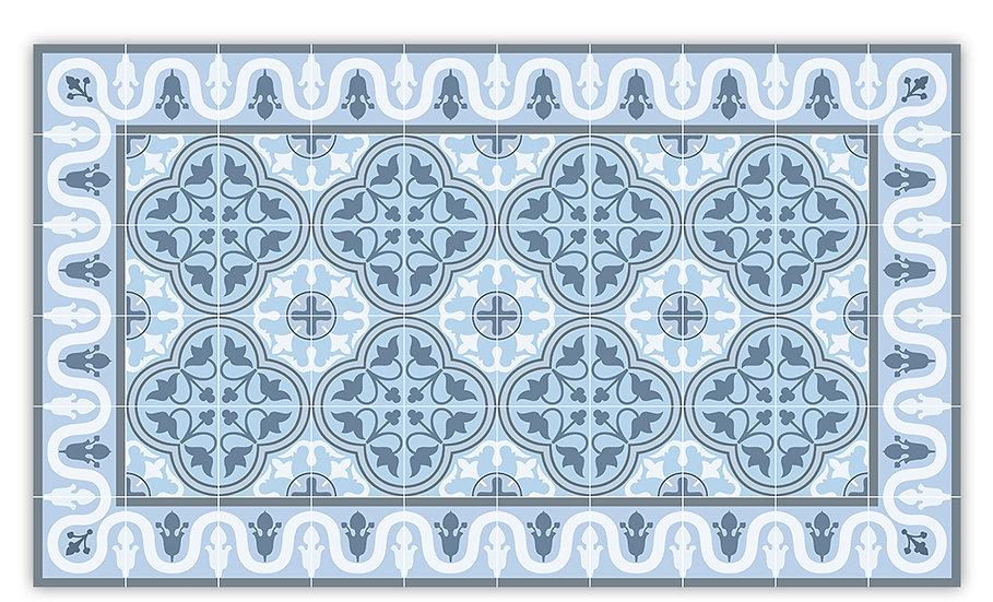 Andrea - Vinyl Floor Mat - Blue Spanish tiles pattern