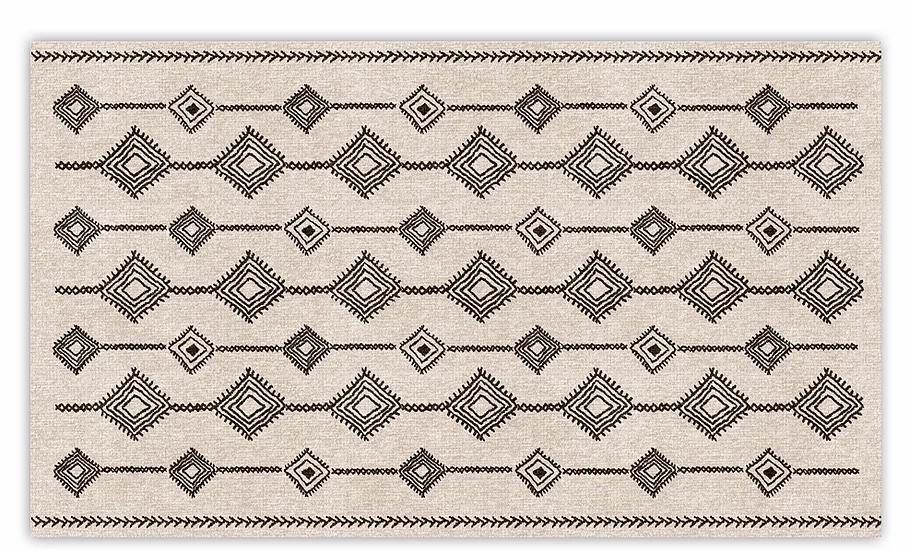 Shiraz - Vinyl Floor Mat - Beige and black ethnic pattern