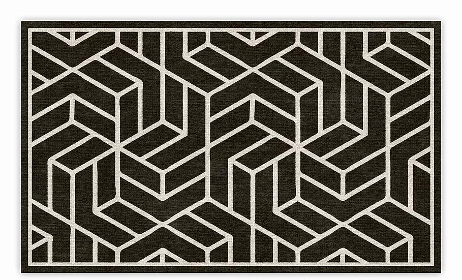Chelsea - Vinyl Floor Mat - Black graphic pattern